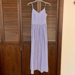 Loft Blue & White Striped Maxi Dress